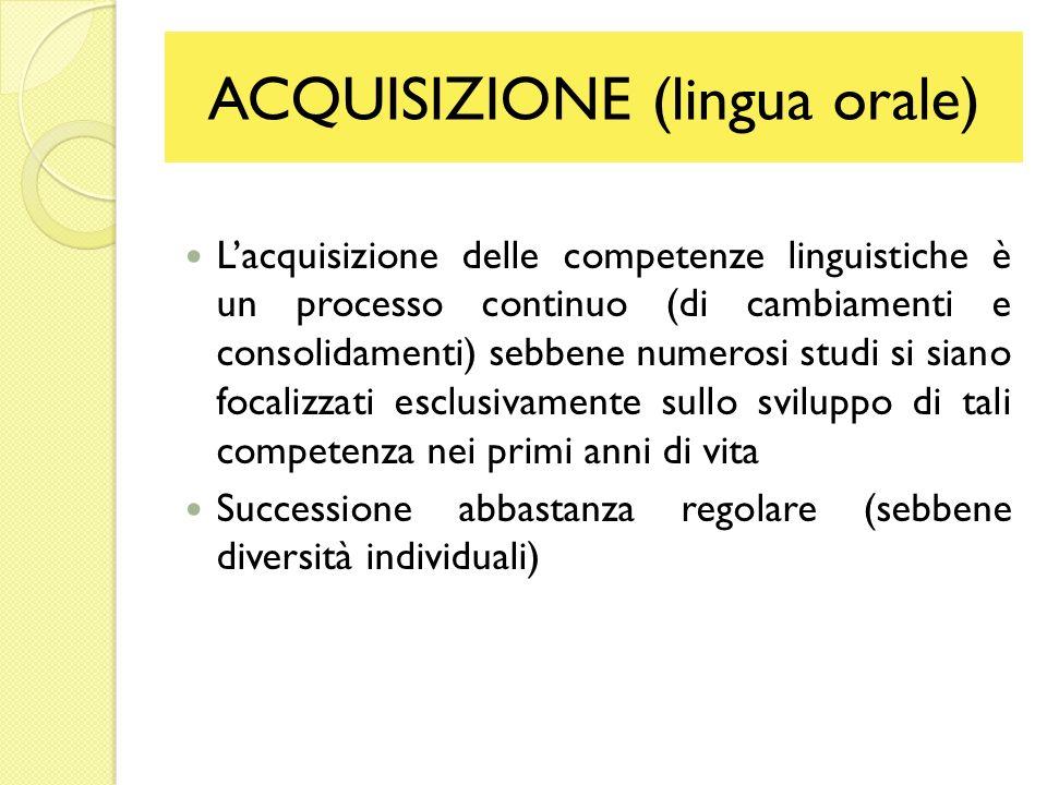 ACQUISIZIONE (lingua orale)
