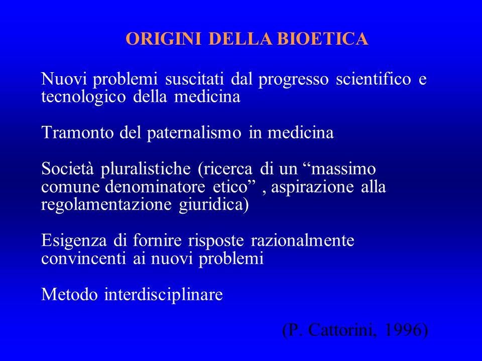 ORIGINI DELLA BIOETICA