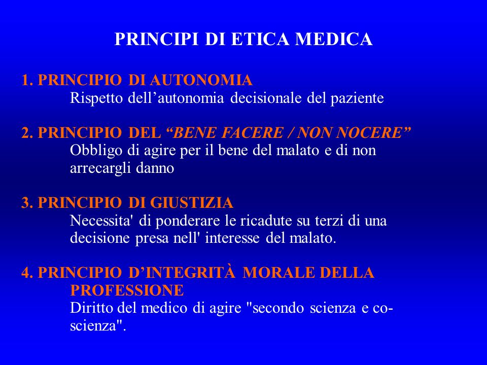 PRINCIPI DI ETICA MEDICA