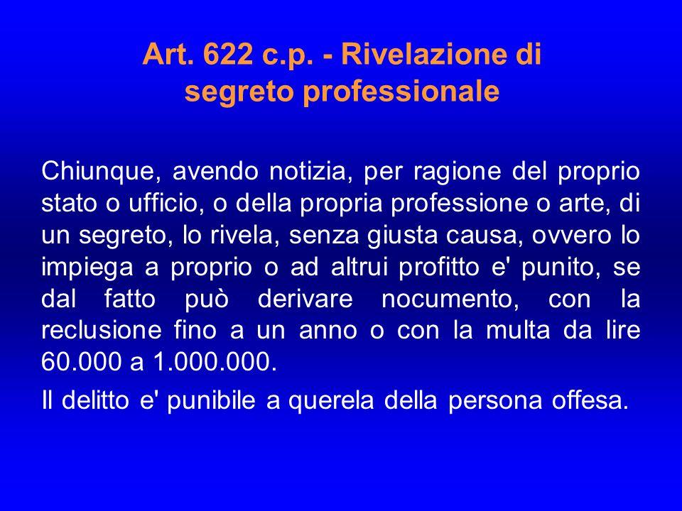 Art. 622 c.p. - Rivelazione di segreto professionale