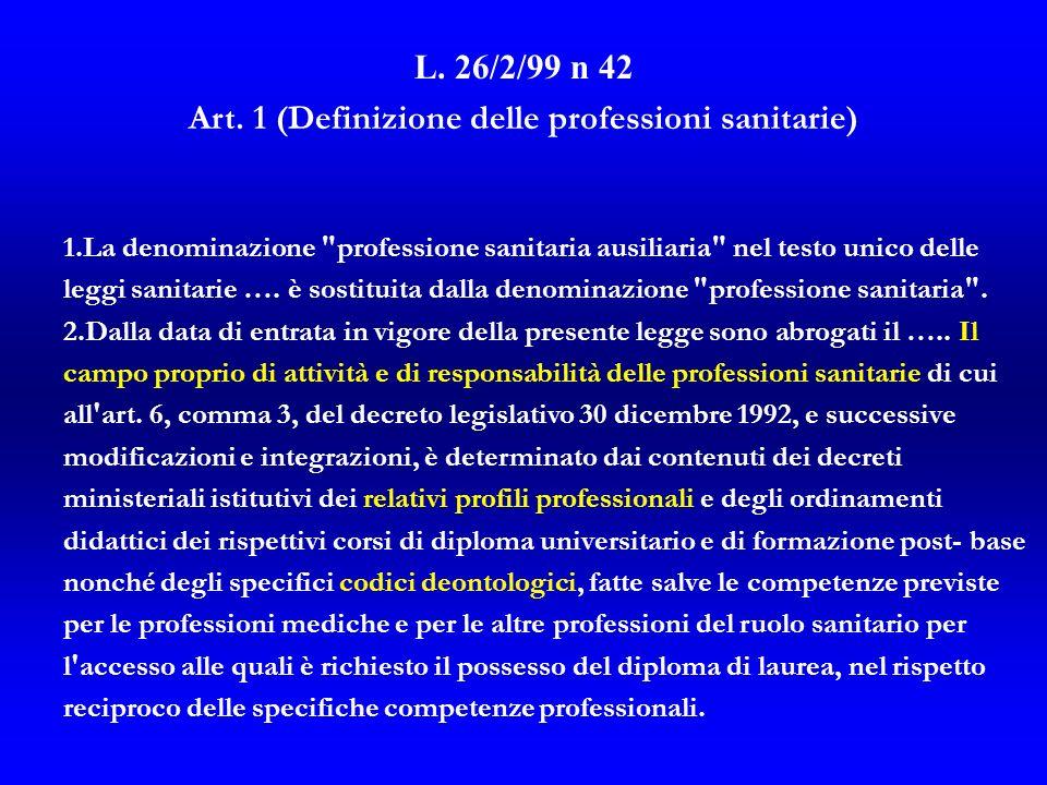Art. 1 (Definizione delle professioni sanitarie)