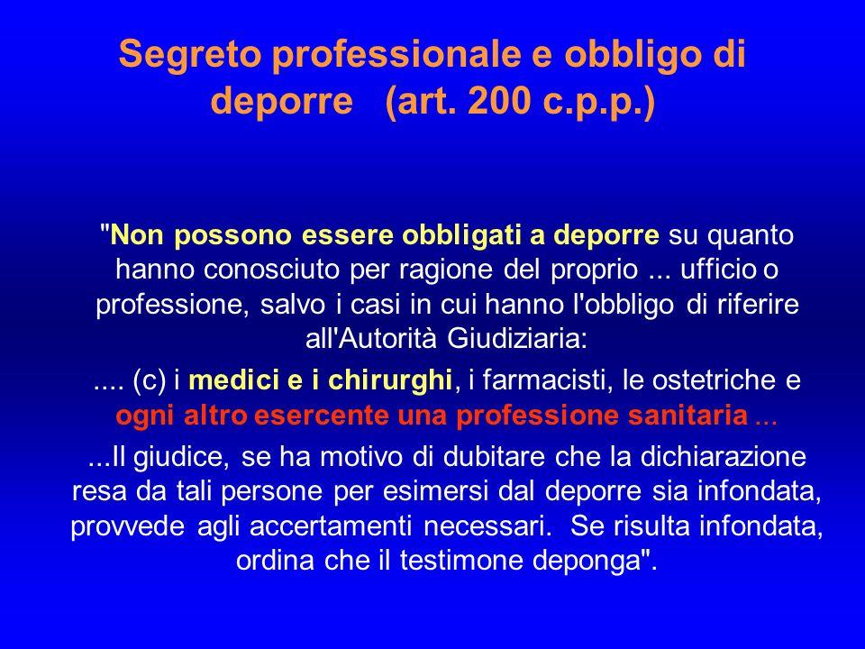 Segreto professionale e obbligo di deporre (art. 200 c.p.p.)