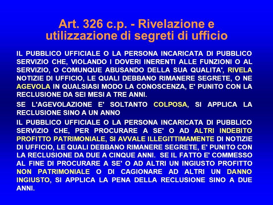 Art. 326 c.p. - Rivelazione e utilizzazione di segreti di ufficio