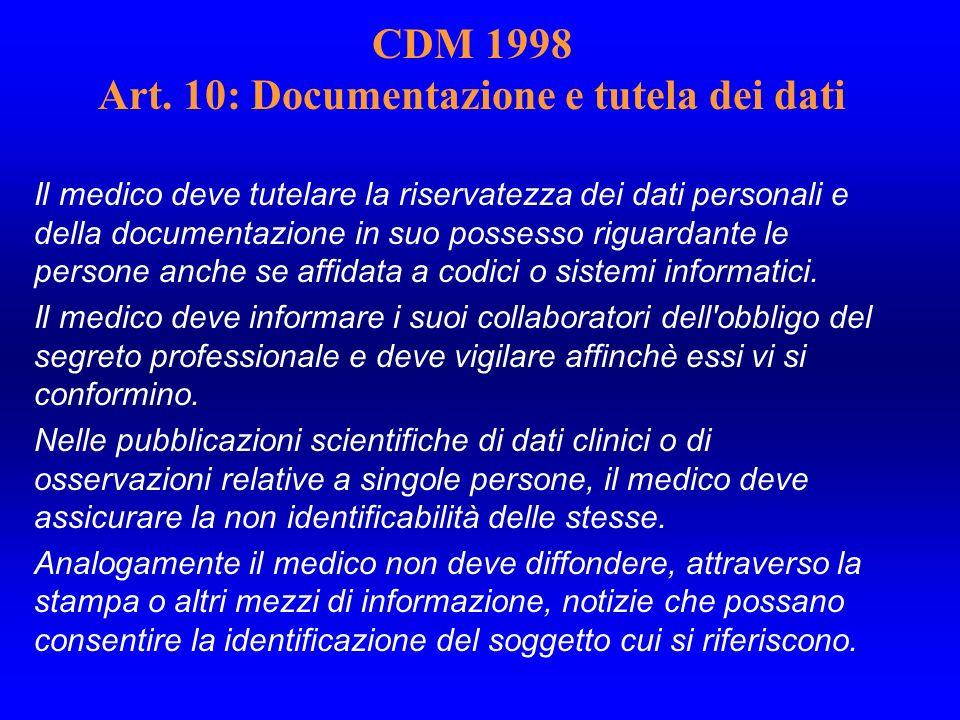 CDM 1998 Art. 10: Documentazione e tutela dei dati