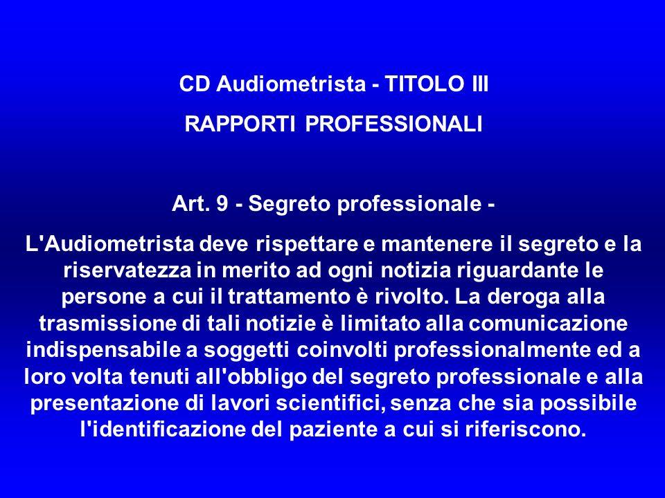 CD Audiometrista - TITOLO III RAPPORTI PROFESSIONALI