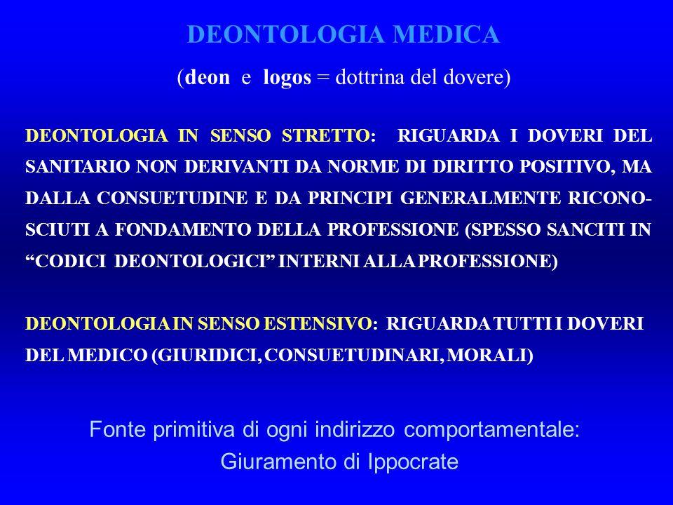 DEONTOLOGIA MEDICA (deon e logos = dottrina del dovere)