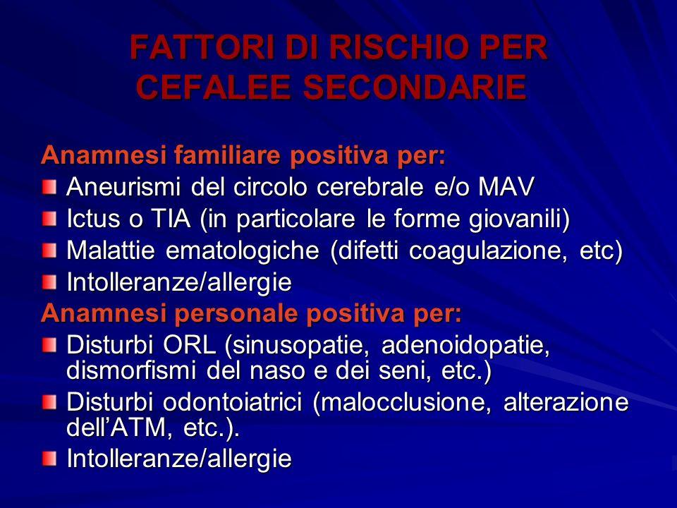 FATTORI DI RISCHIO PER CEFALEE SECONDARIE