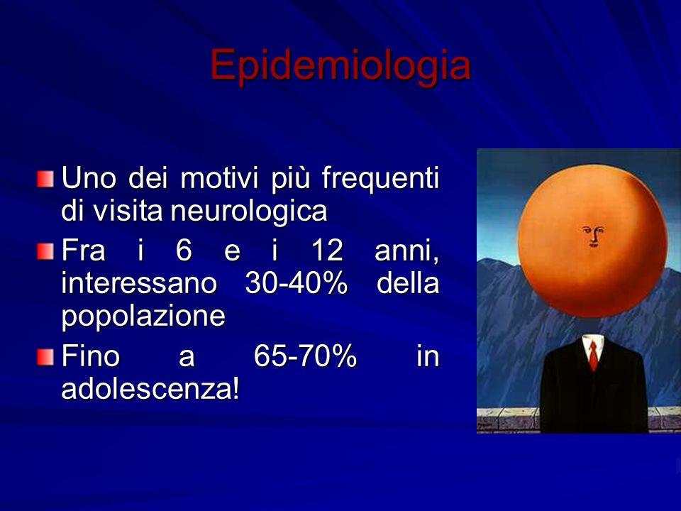 Epidemiologia Uno dei motivi più frequenti di visita neurologica