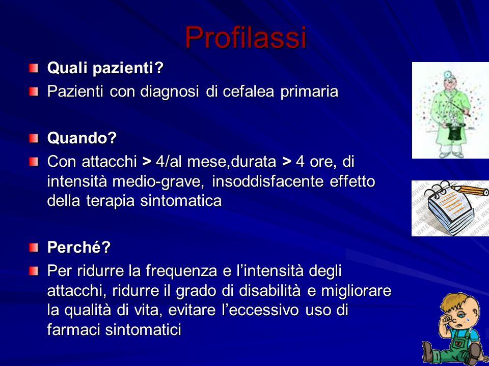 Profilassi Quali pazienti Pazienti con diagnosi di cefalea primaria