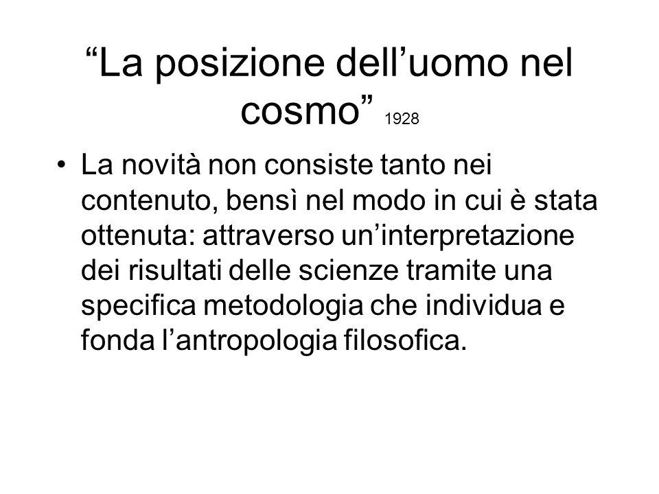 La posizione dell'uomo nel cosmo 1928