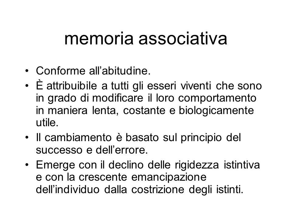 memoria associativa Conforme all'abitudine.