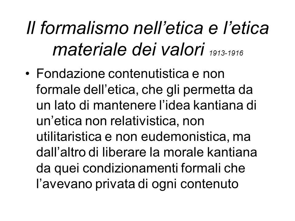 Il formalismo nell'etica e l'etica materiale dei valori 1913-1916