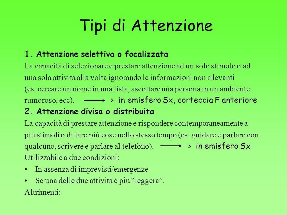 Tipi di Attenzione 1. Attenzione selettiva o focalizzata