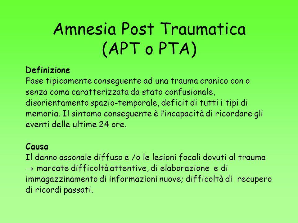 Amnesia Post Traumatica (APT o PTA)