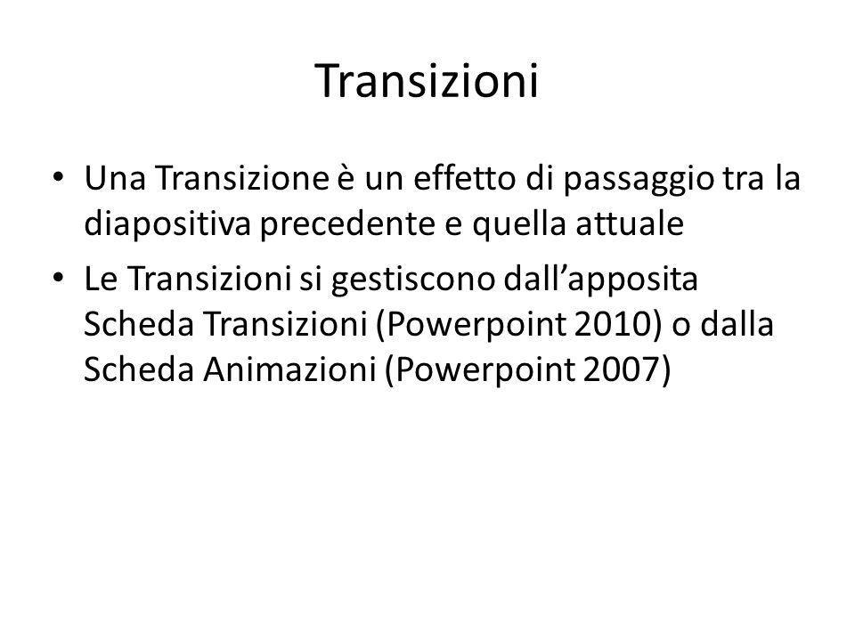 Transizioni Una Transizione è un effetto di passaggio tra la diapositiva precedente e quella attuale.