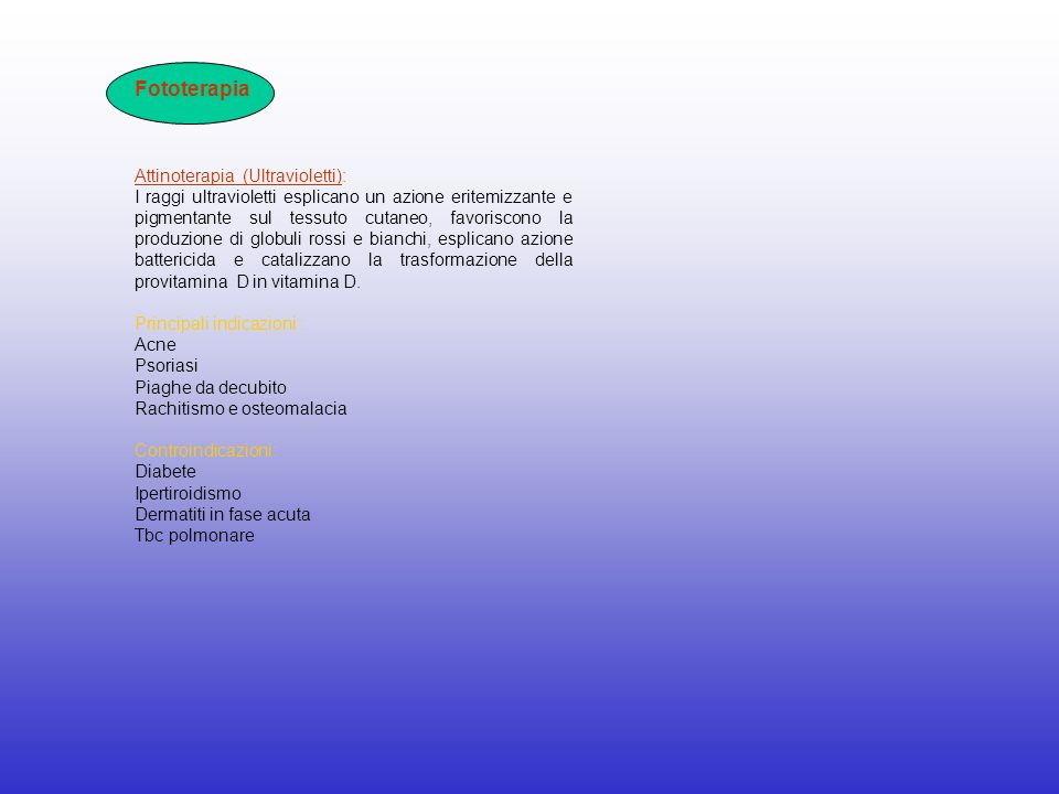 Fototerapia Attinoterapia (Ultravioletti):