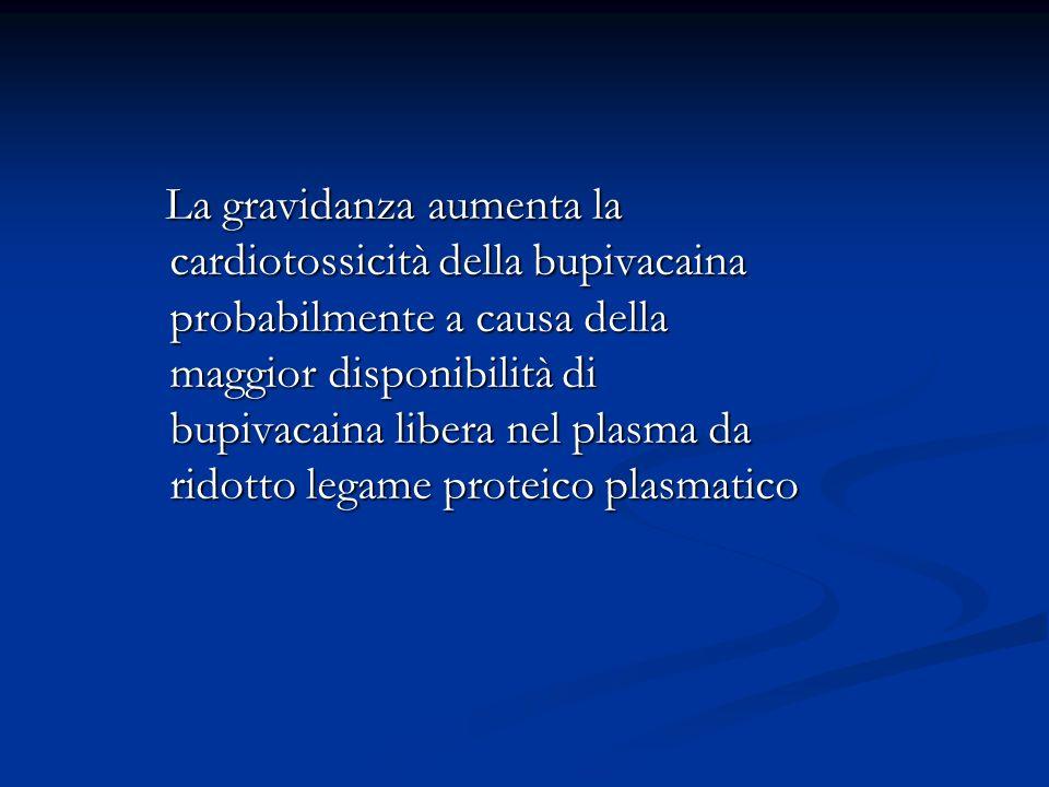 La gravidanza aumenta la cardiotossicità della bupivacaina probabilmente a causa della maggior disponibilità di bupivacaina libera nel plasma da ridotto legame proteico plasmatico