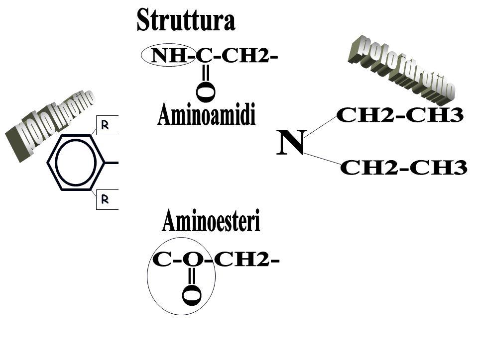 Struttura NH-C-CH2- polo idrofilo =O polo lipofilo Aminoamidi CH2-CH3