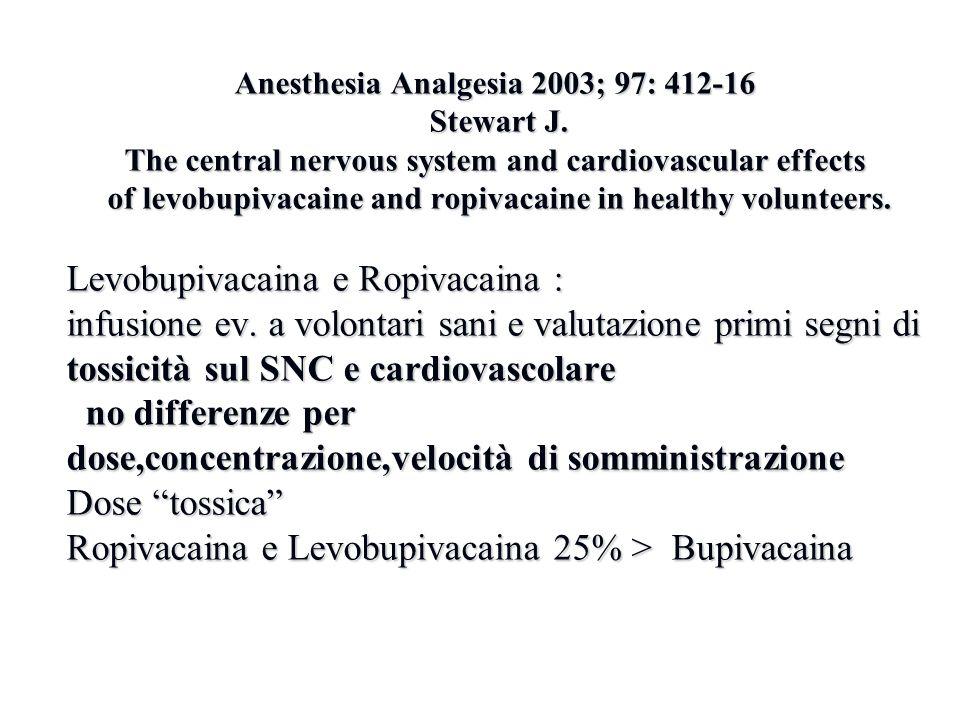 Levobupivacaina e Ropivacaina :