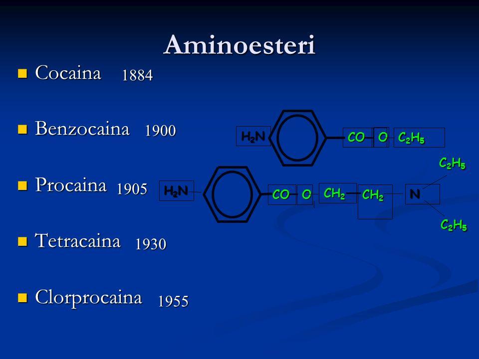 Aminoesteri Cocaina Benzocaina Procaina Tetracaina Clorprocaina 1884