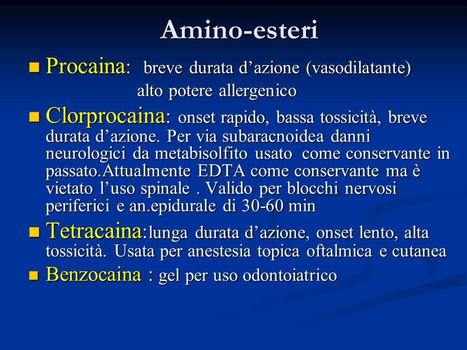 Amino-esteri Procaina: breve durata d'azione (vasodilatante)