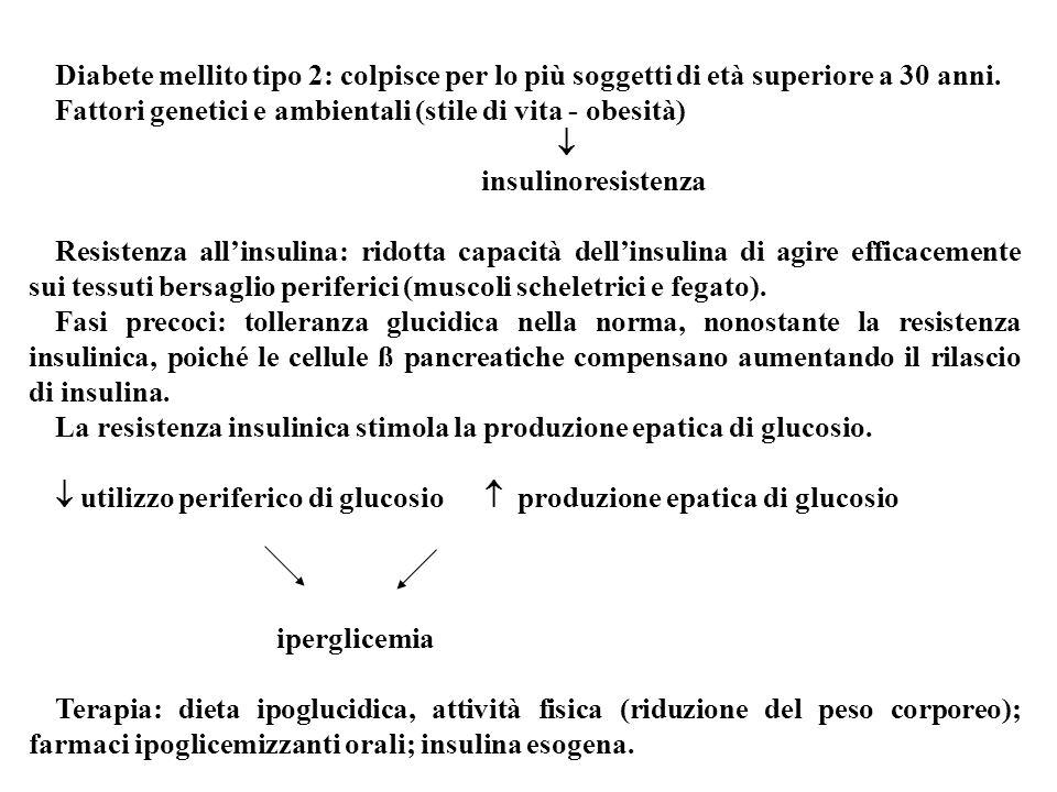 Diabete mellito tipo 2: colpisce per lo più soggetti di età superiore a 30 anni.