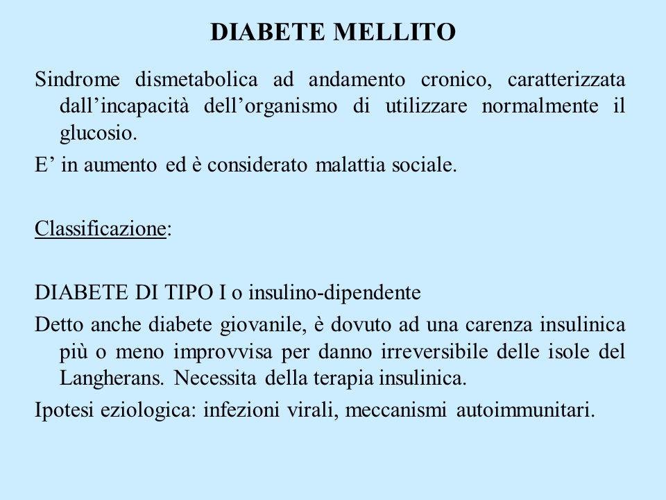 DIABETE MELLITO Sindrome dismetabolica ad andamento cronico, caratterizzata dall'incapacità dell'organismo di utilizzare normalmente il glucosio.