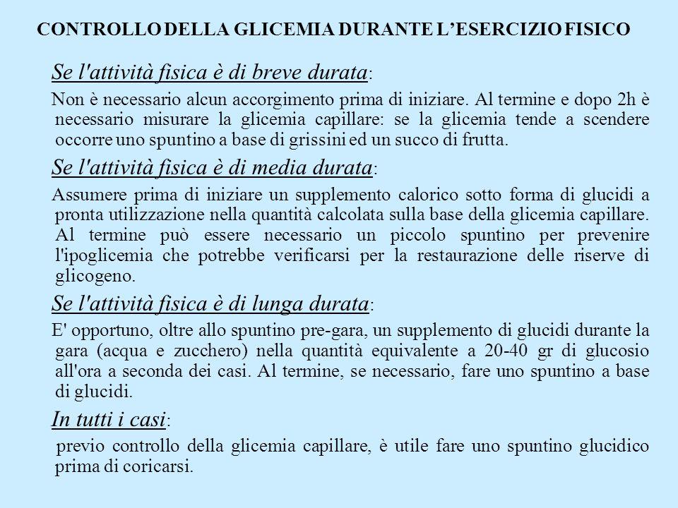 CONTROLLO DELLA GLICEMIA DURANTE L'ESERCIZIO FISICO