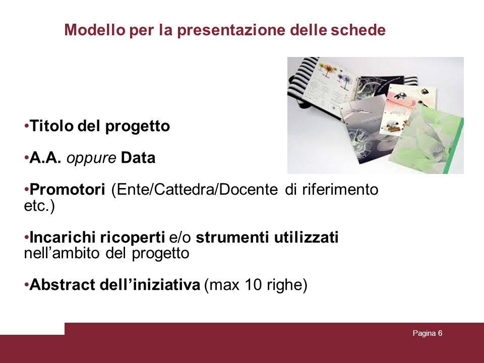 Modello per la presentazione delle schede