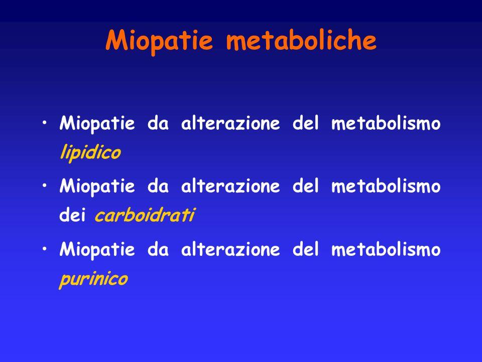 Miopatie metaboliche Miopatie da alterazione del metabolismo lipidico