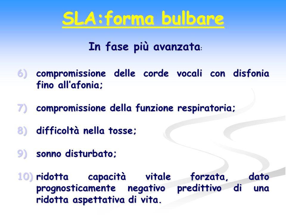 SLA:forma bulbare In fase più avanzata: