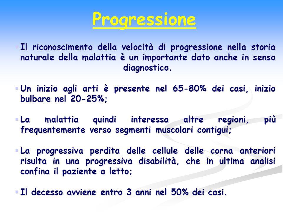 Progressione Il riconoscimento della velocità di progressione nella storia naturale della malattia è un importante dato anche in senso diagnostico.