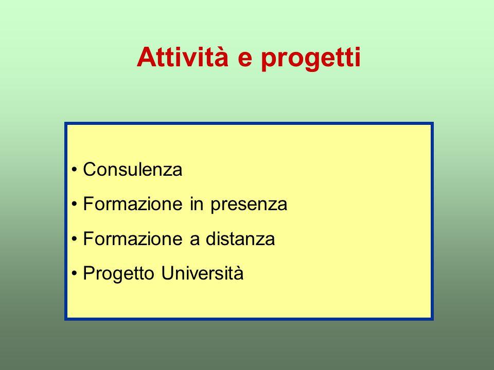 Attività e progetti Consulenza Formazione in presenza