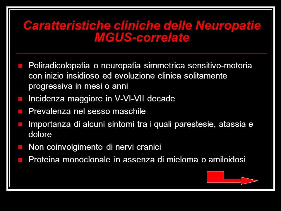 Caratteristiche cliniche delle Neuropatie MGUS-correlate