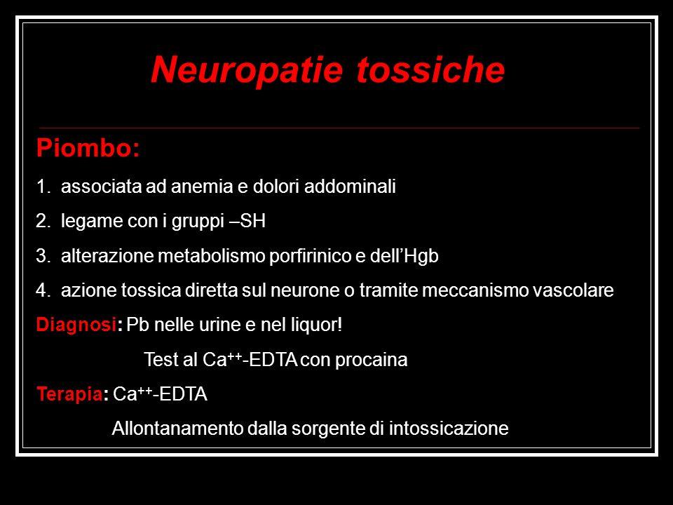 Neuropatie tossiche Piombo: associata ad anemia e dolori addominali