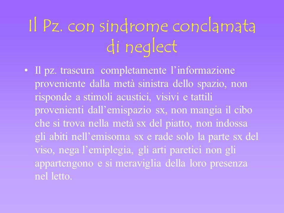 Il Pz. con sindrome conclamata di neglect