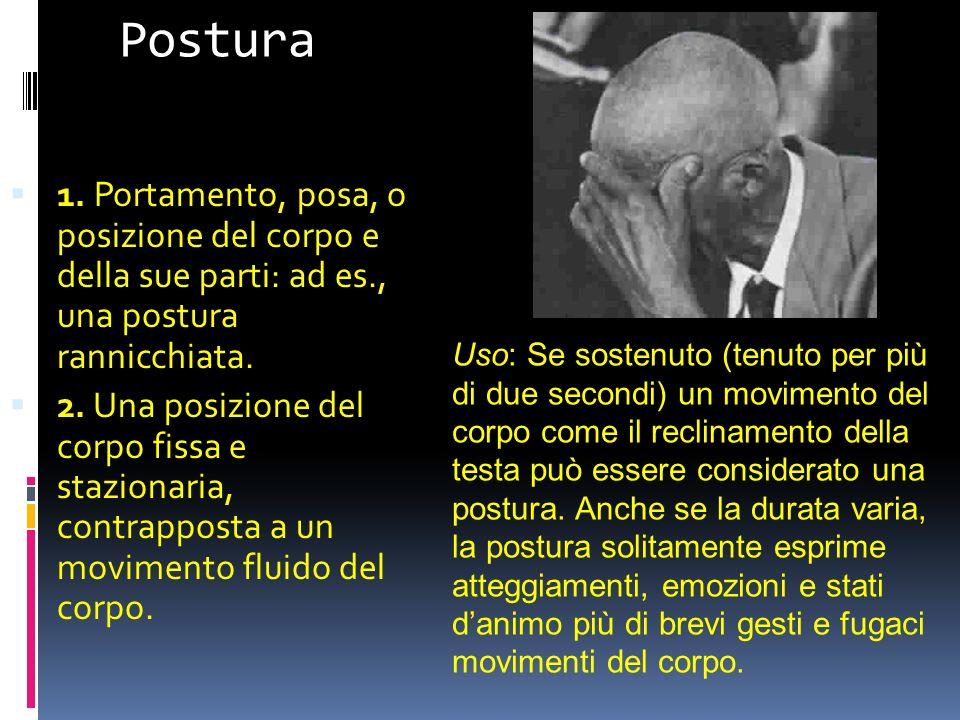 Postura 1. Portamento, posa, o posizione del corpo e della sue parti: ad es., una postura rannicchiata.