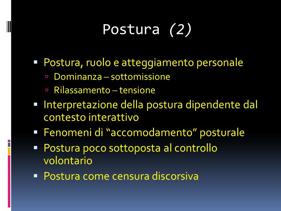 Postura (2) Postura, ruolo e atteggiamento personale