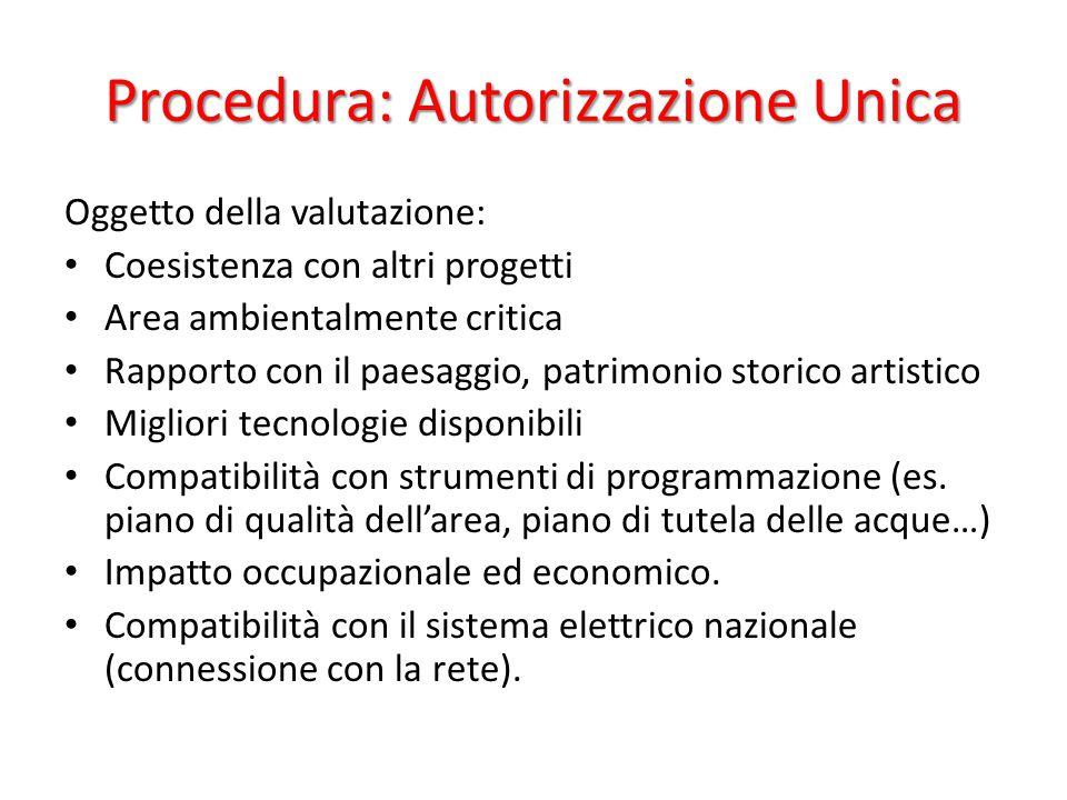 Procedura: Autorizzazione Unica