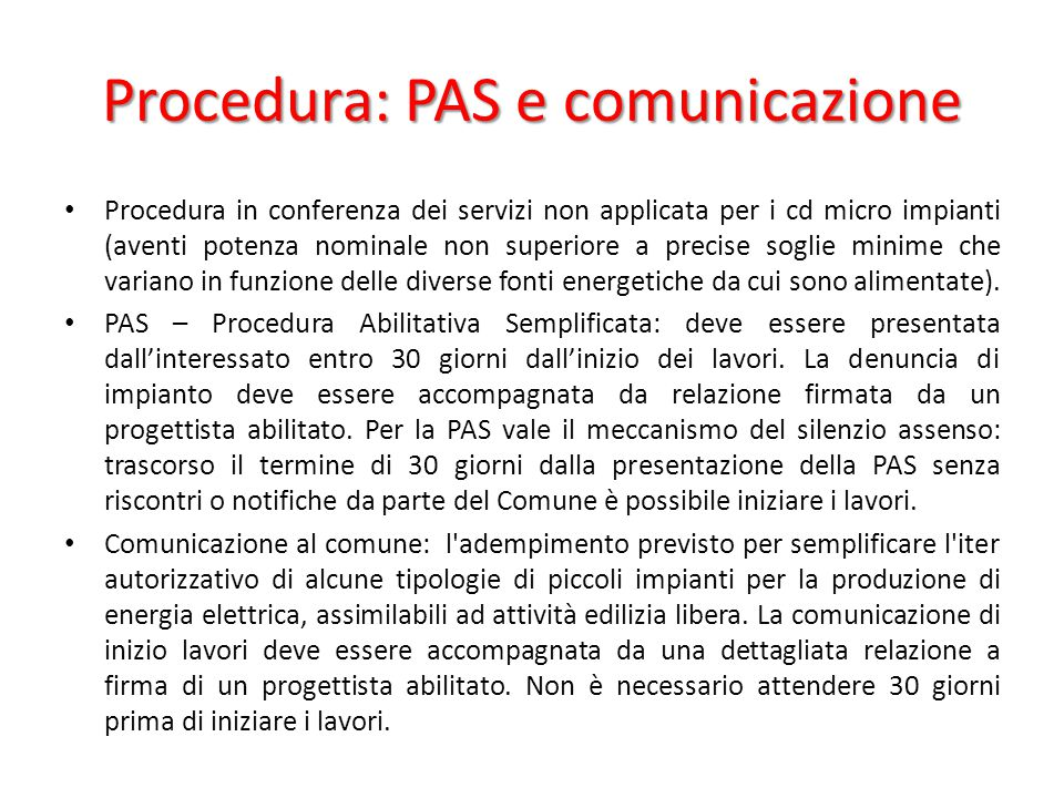 Procedura: PAS e comunicazione