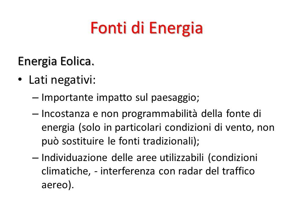 Fonti di Energia Energia Eolica. Lati negativi: