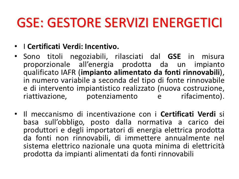 GSE: GESTORE SERVIZI ENERGETICI