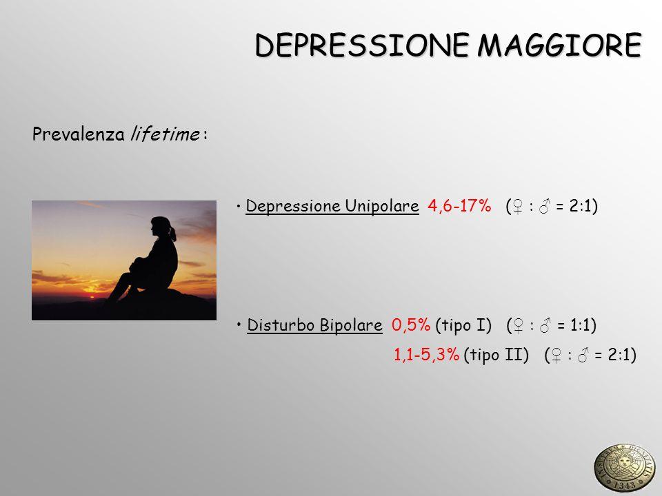 DEPRESSIONE MAGGIORE Prevalenza lifetime :