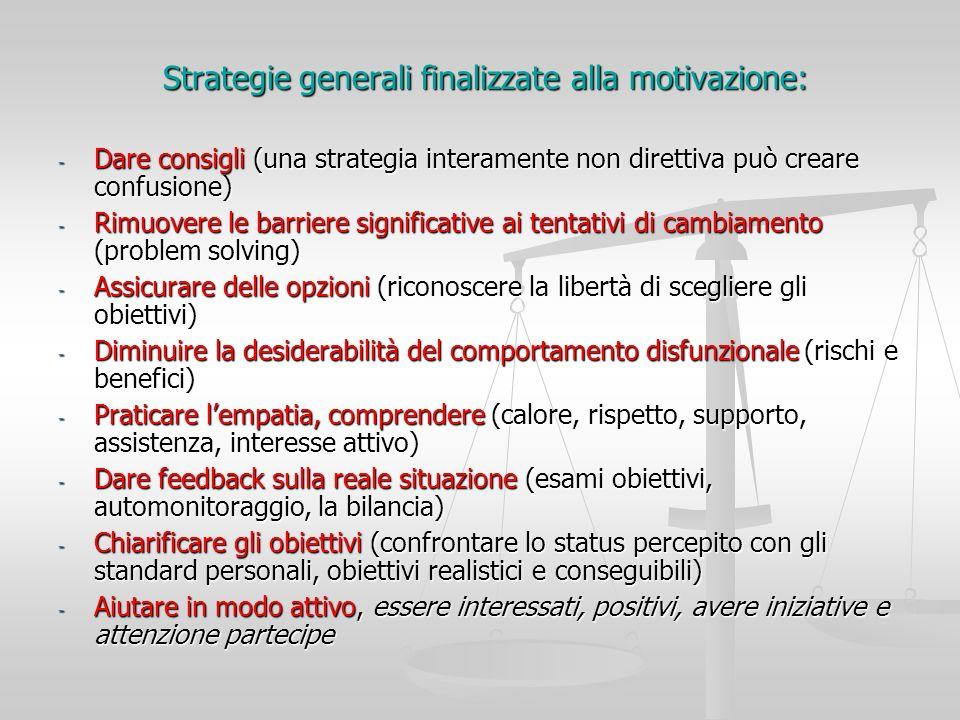 Strategie generali finalizzate alla motivazione: