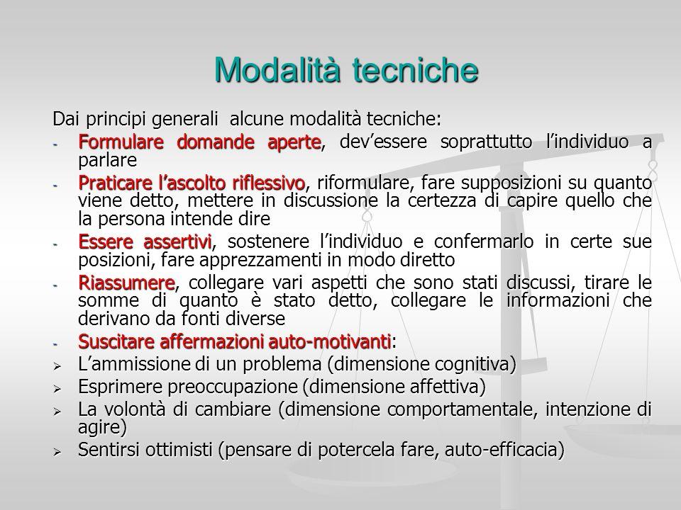 Modalità tecniche Dai principi generali alcune modalità tecniche: