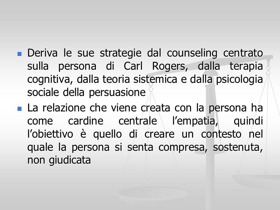 Deriva le sue strategie dal counseling centrato sulla persona di Carl Rogers, dalla terapia cognitiva, dalla teoria sistemica e dalla psicologia sociale della persuasione