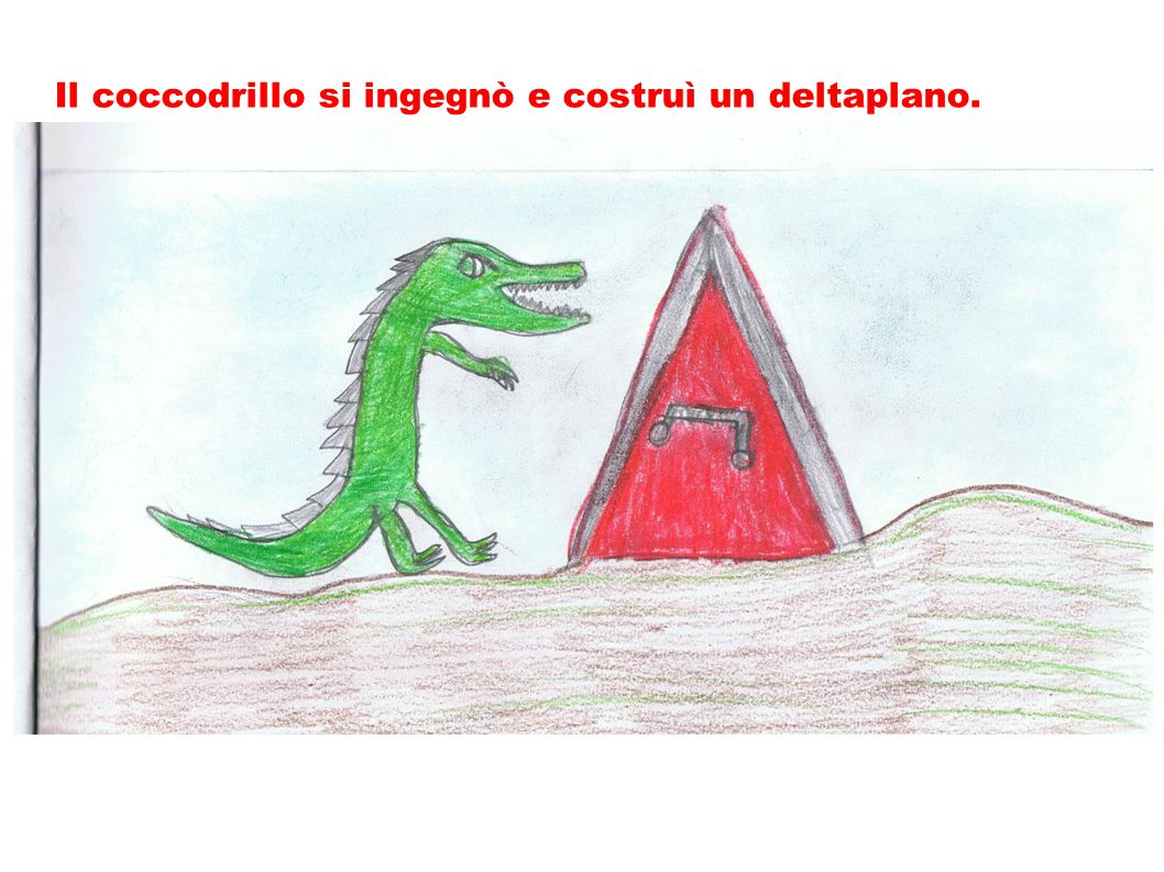 Il coccodrillo si ingegnò e costruì un deltaplano.