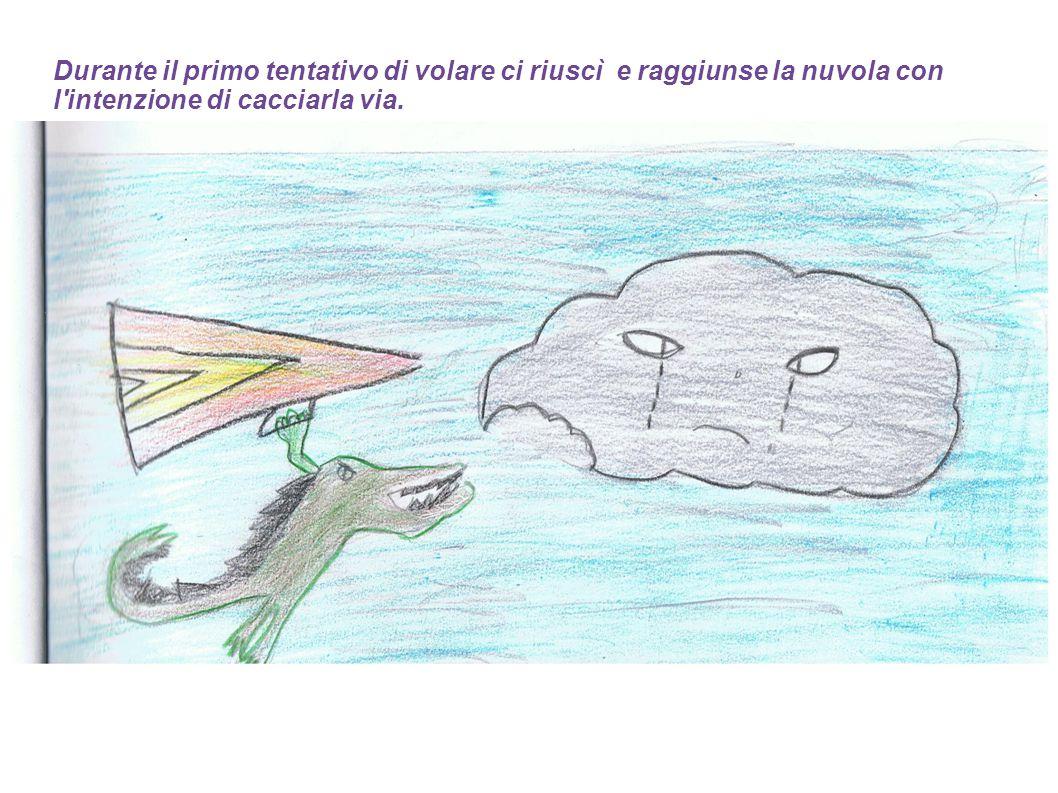 Durante il primo tentativo di volare ci riuscì e raggiunse la nuvola con l intenzione di cacciarla via.