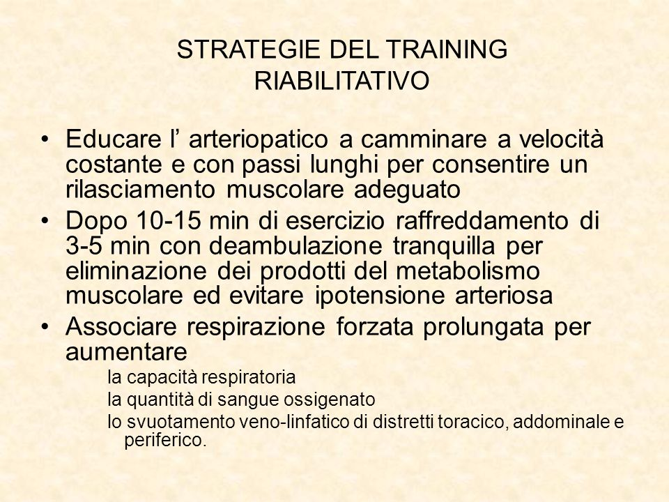 STRATEGIE DEL TRAINING RIABILITATIVO