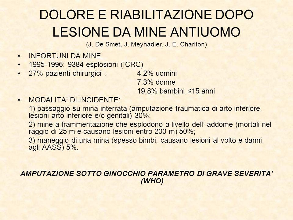 AMPUTAZIONE SOTTO GINOCCHIO PARAMETRO DI GRAVE SEVERITA' (WHO)